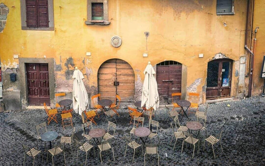 Italy - Empty cafeteria.