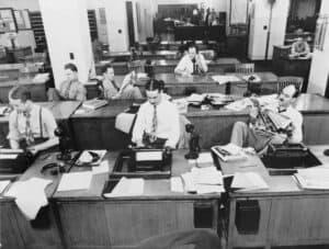 New York Times Newspaper. Vanha kuva. Toimittajat toimistossa.